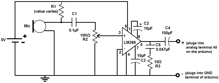 how to connect a microphone to an arduino lm386 microphone amplifier circuit