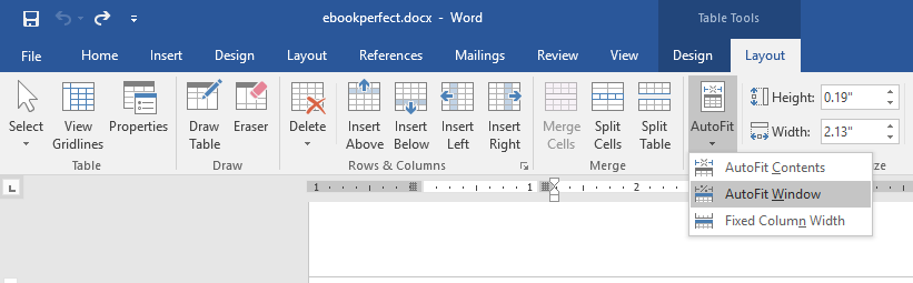 Microsoft Word table autofit to window