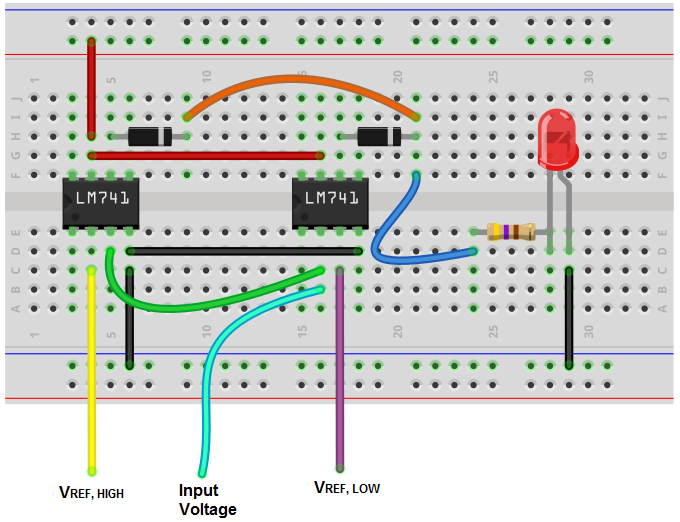 Modified window comparator breadboard circuit