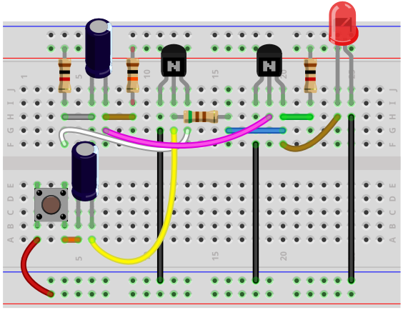 how to connect a transistor on a breadboard