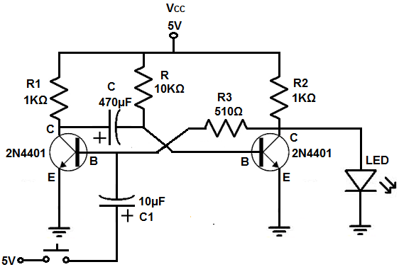 how to build a monostable multivibrator circuit with