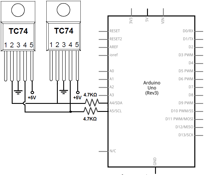 How to connect multiple i2c devices to an arduino microcontroller multiple i2c temperature sensors circuit asfbconference2016 Choice Image