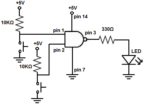 how to build a nand gate logic circuit using a  chip, wiring diagram
