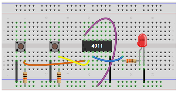 NAND gate circuit using pull up resistors breadboard schematic