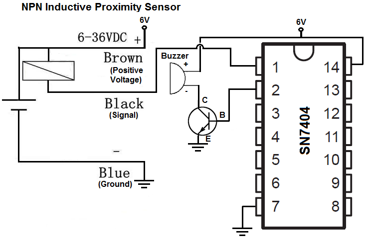 how to build an npn inductive proximity sensor circuit