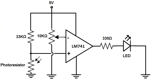 Night light circuit using an LM741 op amp