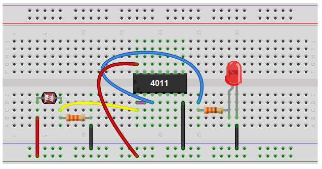 Night light circuit with NAND gate chip