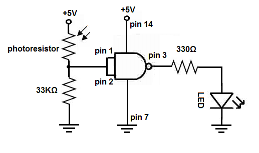 how to build a night light circuit with a nand gate chip