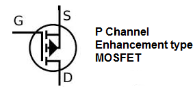 P channel enhancement type MOSFET symbol