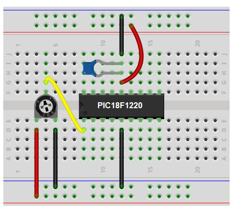 PIC potentiometer circuit breadboard schematic