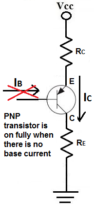 PNP transistor normally on device