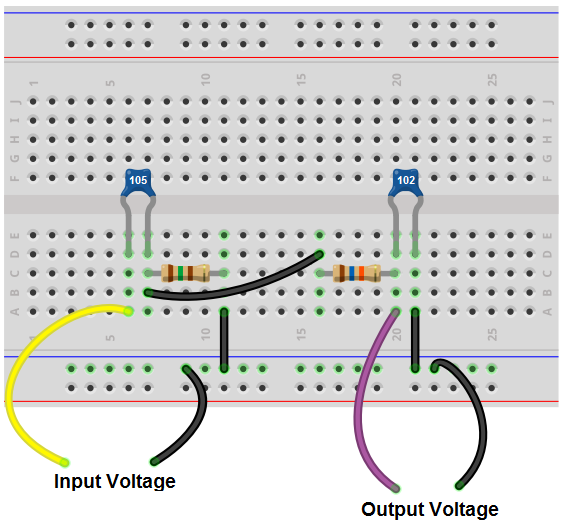 Bandpass filter breadboard circuit
