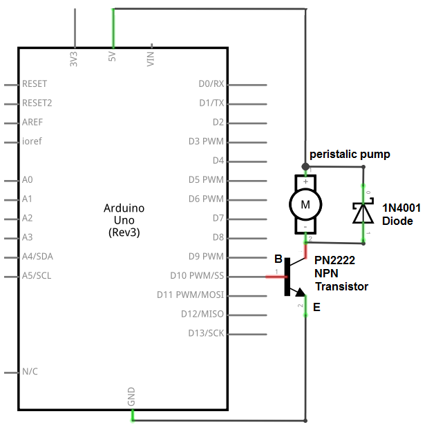 Peristaltic pump circuit with an arduino
