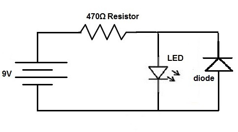 how to connect a protection diode in a circuit rh learningaboutelectronics com diode resistor series circuit diode resistor parallel circuit