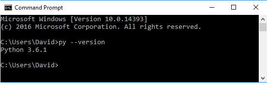 Python version on a command prompt on a Windows PC