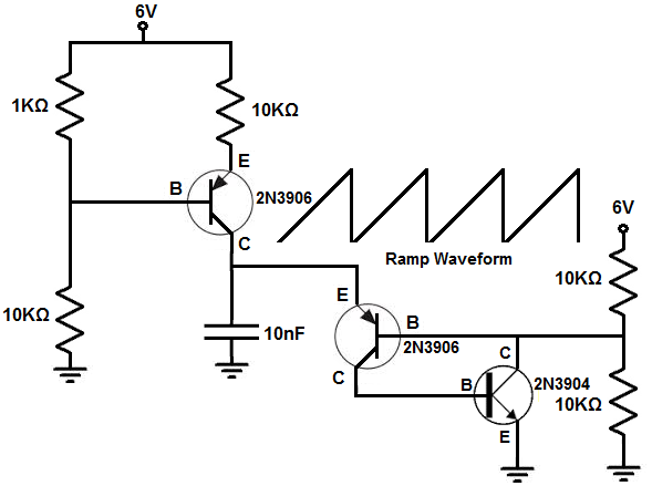 how to build a ramp generator with transistors rh learningaboutelectronics com HV Ramp Generator Circuit Ramp Generator Circuit Digital