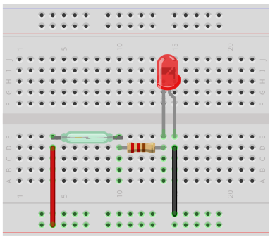 Reed switch circuit breadboard schematic