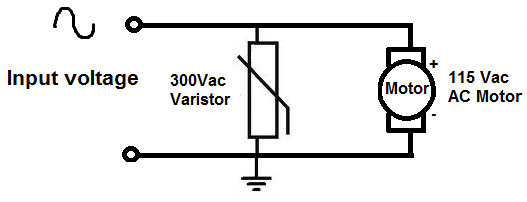 Simple varistor circuit with AC motor