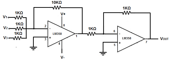how to build a summing op amp circuit