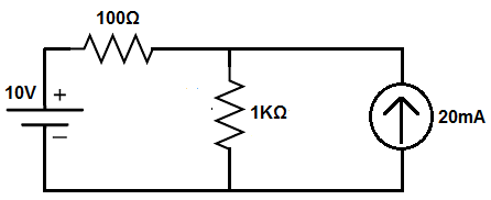 Superposition theorem circuit with a current source