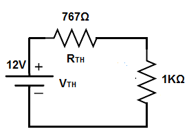 Thevenin's theorem circuit- simplified