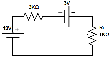 Thevenin's theorem circuit with multiple power sources