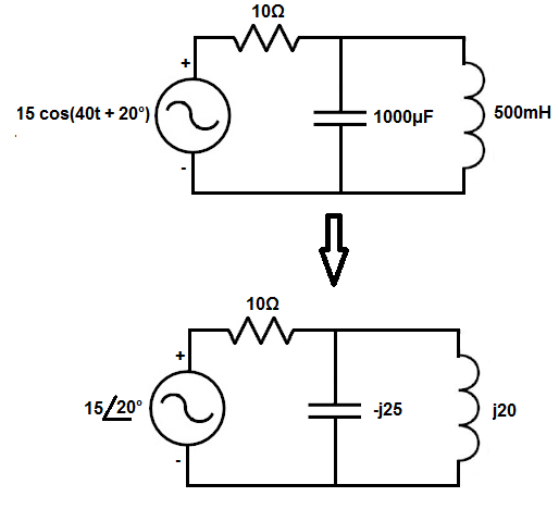 time to frequency domain converter for ac circuits