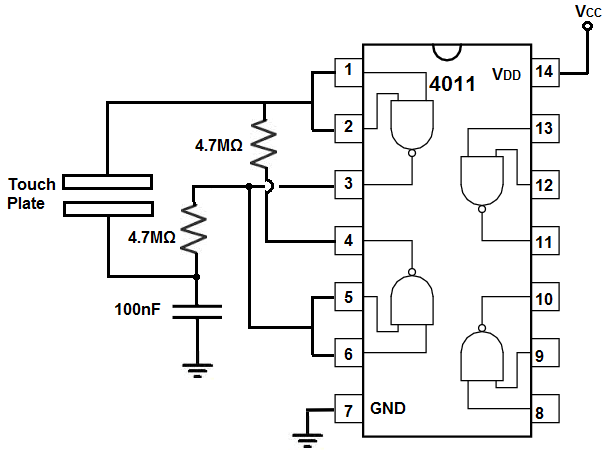 how to build a touch on off circuit with a 4011 nand gate chip rh learningaboutelectronics com circuit diagrams of ic 4093 circuit diagrams for ic 7485