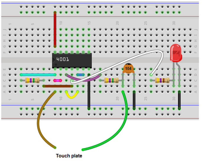 Touch on-off breadboard circuit with a 4001 NOR gate chip