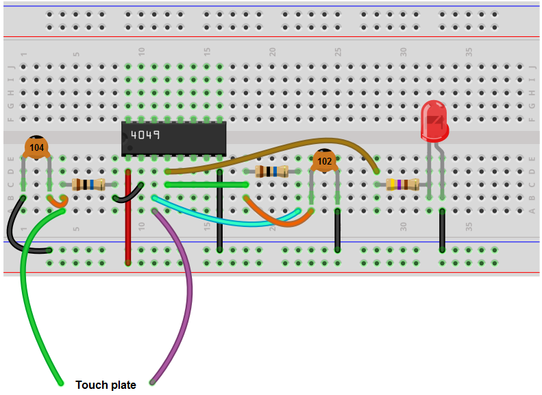How To Build A Touch On Off Circuit With A 4049 Inverter Chip