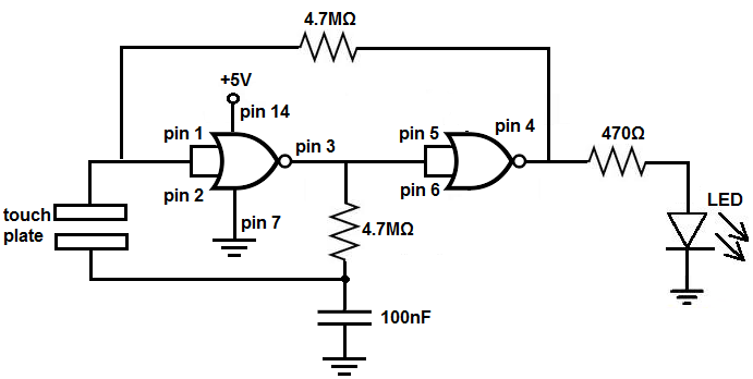 how to build a touch onoff circuit with a  nor gate chip, circuit diagram