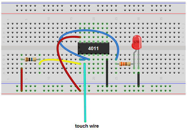 touch sensor circuit with nand gate chip breadboard schematic