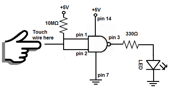Touch sensor circuit with NAND gate how to build a touch sensor circuit with a nand gate chip touch lamp sensor wiring diagram at soozxer.org