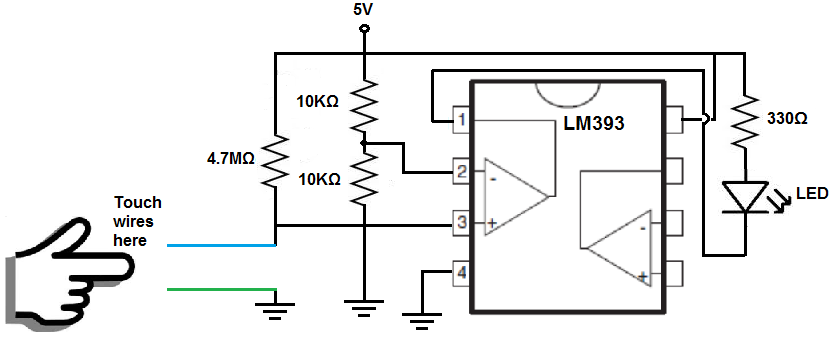 How to Build a Touch Sensor Circuit with a Voltage Comparator Chip