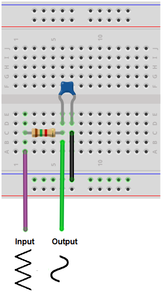 Triangle to sine wave converter breadboard circuit