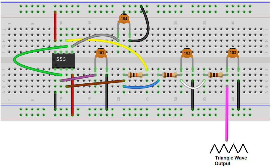 Triangle wave generator breadboard circuit