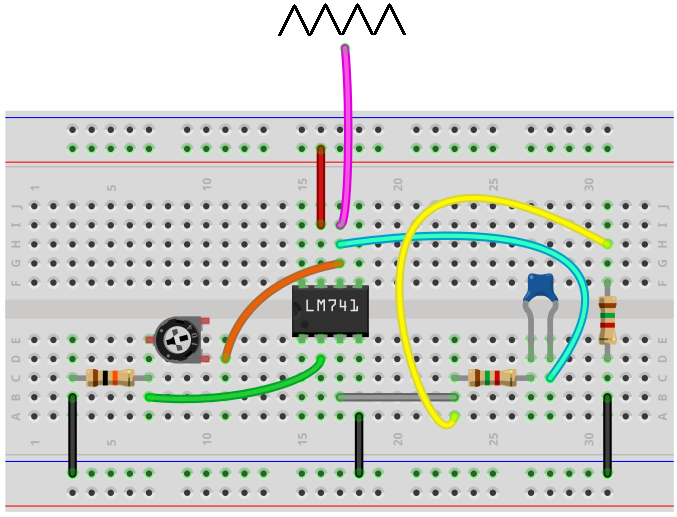 Triangle wave generator breadboard circuit built with LM741 op amp