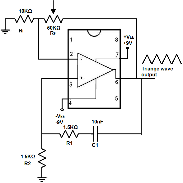 how to build a triangle wave generator circuit with an lm741 op amptriangle wave generator circuit built with an lm741 op amp chip