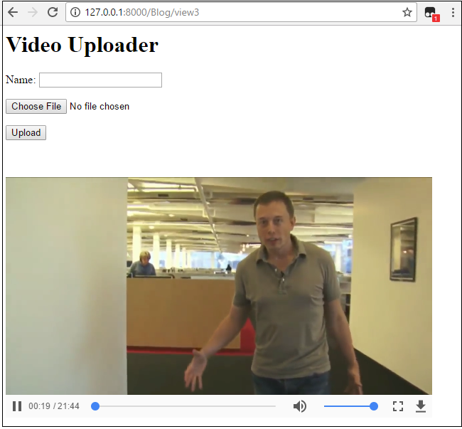 Video uploader form in Django