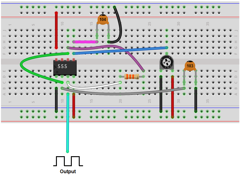 Voltage controlled oscillator (VCO) breadboard circuit with a 555 timer
