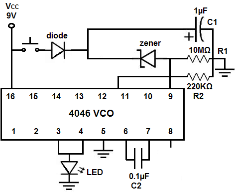 how to build a voltage controlled oscillator vco circuit built rh learningaboutelectronics com voltage controlled oscillator vco circuit diagram using lm358 VCO Oscillator