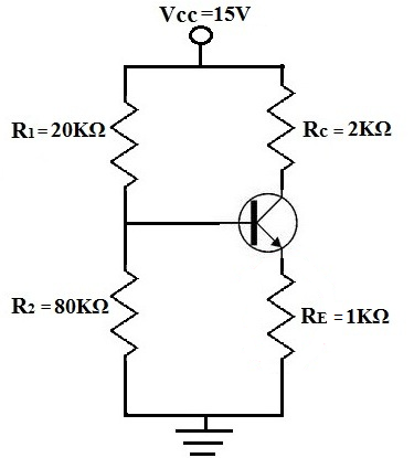 voltage divider bias of a bjt transistor,