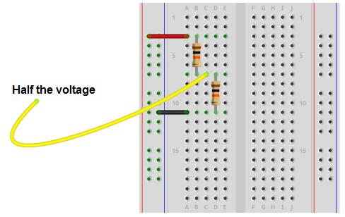 Voltage divider circuit with half the voltage breadboard schematic