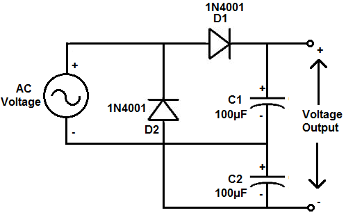 how to build a voltage doubler circuit rh learningaboutelectronics com voltage tripler circuit diagram voltage doubler circuit diagram using diode