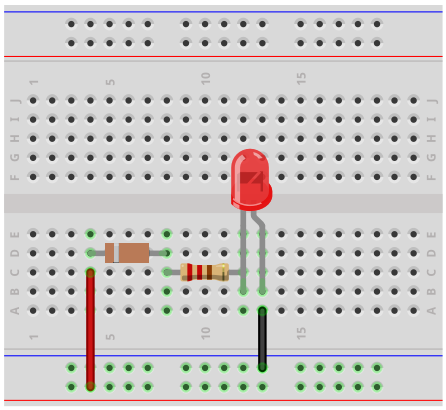 Voltage level indicator breadboard circuit with a zener diode