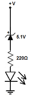 Voltage level indicator circuit with a zener diode