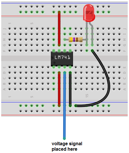 Voltage sensor breadboard circuit