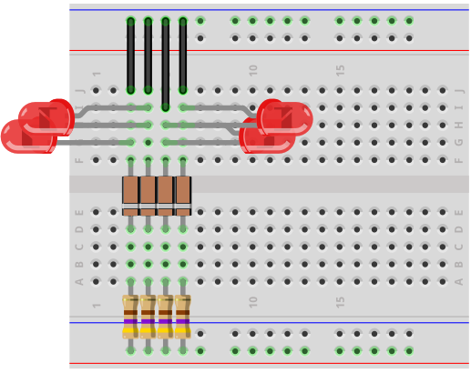 Voltmeter breadboard circuit with zener diodes