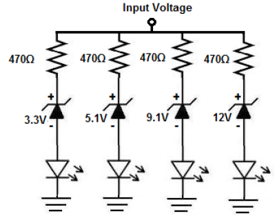 Voltmeter Circuit With Zener Diodes on led circuits