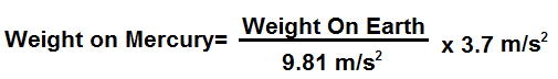 Weight on Mercury formula
